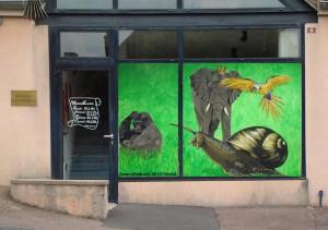 décoration éphémère sur la vitrine de la bibli thème l'illustration été 2017